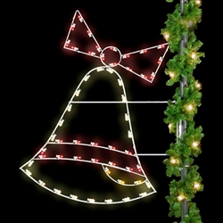 6' Pole mount Christmas Bell with LED bulbs