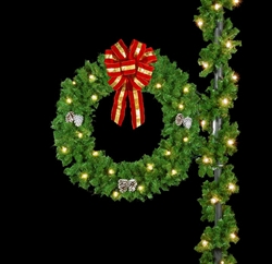 "Pole Mount 50"" Bow wreath with pine cones and puff bows"
