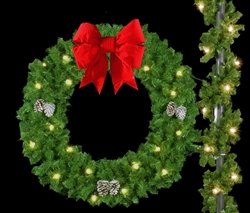 "Pole Mount 60"" Bow Wreath with LED bulbs"