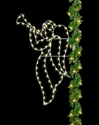 8' Silhouette Christmas Angel Pole Mount with LED bulbs