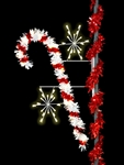 Pole mount sparkling candy cane with silhouette snobursts