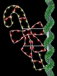 Pole mount 6' Candy Cane with Bow and LED bulbs