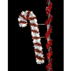 Sparkling 6' and 7' Pole Mount Candy Cane