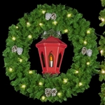 wreath with lighted lantern