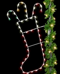 LED lighted Pole Mount Christmas Stocking
