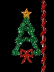 Pole mount Christmas Tree with Bow and LED bulbs