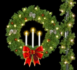 "Pole Mount 50"" Deluxe triple Candle Wreath with 24"" Nylon Bows with gold trim"