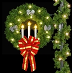 "Pole Mount triple candle wreath with 2 - 16"" Puff bows"