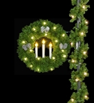"pole mount 36"" Candle wreath with pine cones"