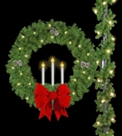 "Pole mount 50"" Triple Candle wreath with pine cones and (2) 24"" Red bows"