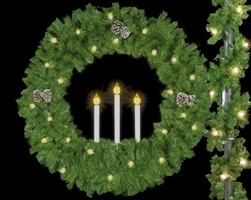 Lighted Triple Candle Wreath