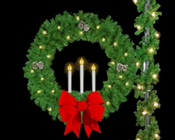 "Pole mount 60"" Triple Candle Wreath with 24"" 3D Red Velvet Bows"