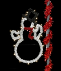 5' Economy Lighted Snowman Pole Mount Decoration