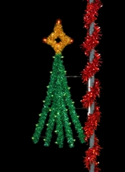Pole mounted Festive Tree with lights
