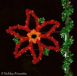 Pole Mounted Sparkling Poinsettia with 39 C9 Bulbs