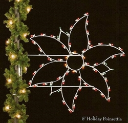 Pole Mounted Silhouette Poinsettia with lights