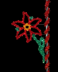 Sparkling Poinsettia Pole Mount decoration with C9 LED bulbs