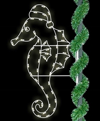 pole mount seahorse lit with LED bulbs