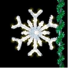 lighted sparkling snowflake with LED bulbs