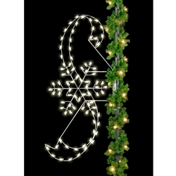 8' Silhouette Classic Snowflake with Ribbons with standard or LED bulbs