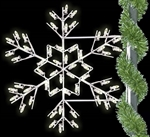 Pole mount winterfest forked snowflake with LED bulbs