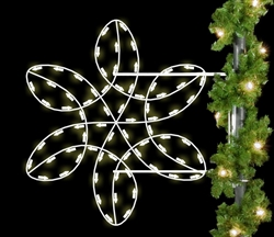 Pole Mount Winterfest spiral snowflake with LED lights