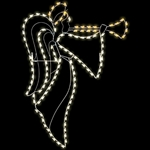 8' Silhouette trumpeting Angel pole mount with LED Lights