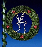 Deer Wreath Pole Mount with Ball Clusters and lights