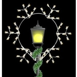 Post Over 5' Forked Snowflake Post Over with LED Bulbs