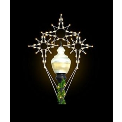 8' Silhouette Triple Bethlehem Stars Post Over with LED Bulbs