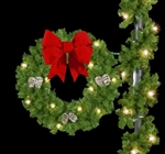 "Lighted 36"" pole mount wreath with LED bulbs"