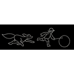 5' Silhouette Boy with Hoop and 3' Chasing Dog with LED or Standard Bulbs