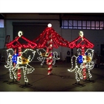 5 Horse Animated Carousel with LED Bulbs and Garland