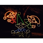 Set of Three Elf Tree Peekers two 5' & one 9' with C7 standard or LED C7 Bulbs