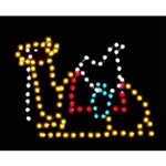 Silhouette resting camel with LED bulbs ground mount display