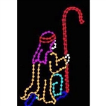 7' Silhouette Kneeling Shepherd with Staff and LED Bulbs