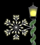 Pole Mount Silhouette Deluxe Forked snowflake with LED bulbs