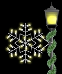 pole mount silhouette winterfest forked snowflake with LED bulbs