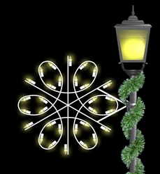 Pole mount spiral snowflake with LED bulbs