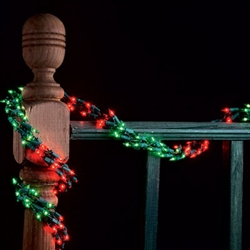 9' Red & Green Garland Lights with 300 mini lights