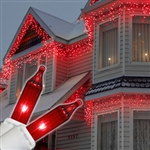 150 Red Icicle lights on white wire