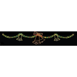 40' Commercial Christmas Skyline Garland & Bell Display