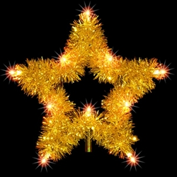 5 point tree topper star with garland