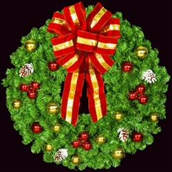 "Deluxe 36"" to 72"" Decorated wreath with puff bow unlit"