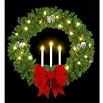Triple Candle Building mount Wreath with pine cones and Velvet Bow and lights