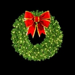"36"" to 72"" Wall mount wreath with C6 LED lights and 3D Bow"