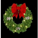 "36"" or 60""  Bow Wreath with 18"" or 24""  3D Velvet Bow and Pine Cones"