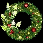 "48"" to 96"" Wreaths with Metal Holly Leaves and Ornaments with LED lights"