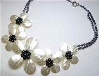20654 MOP 5 flowers Combo with Double Pearl Necklace