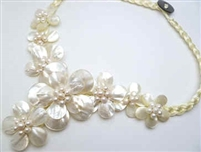 20655 MOP 8 flowers Combo with Single Pearl Necklace